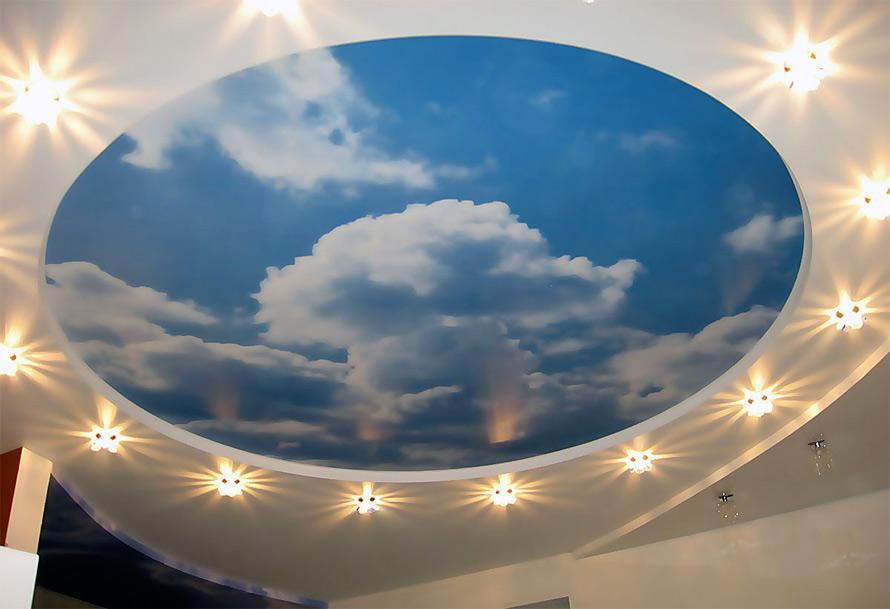 все натяжные потолки фотопечать облака если