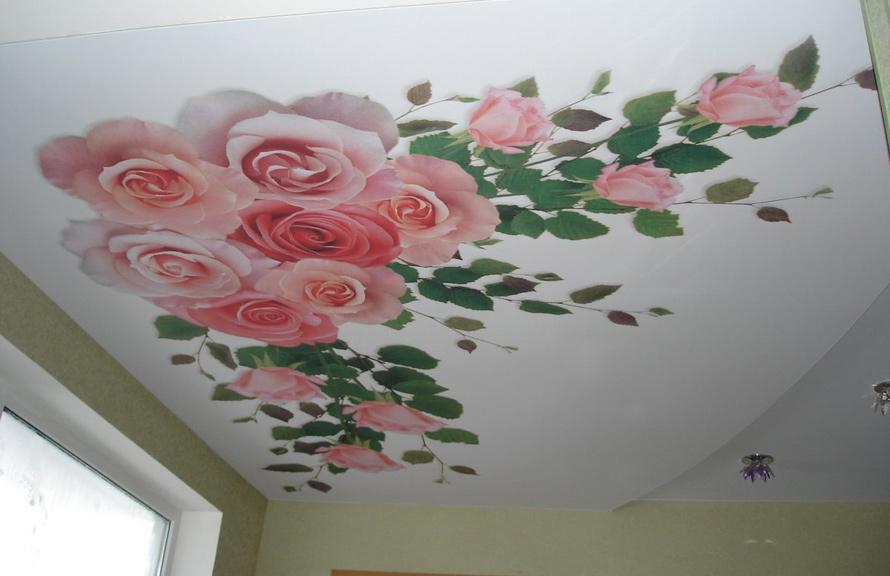фотопечать розы натяжные потлки